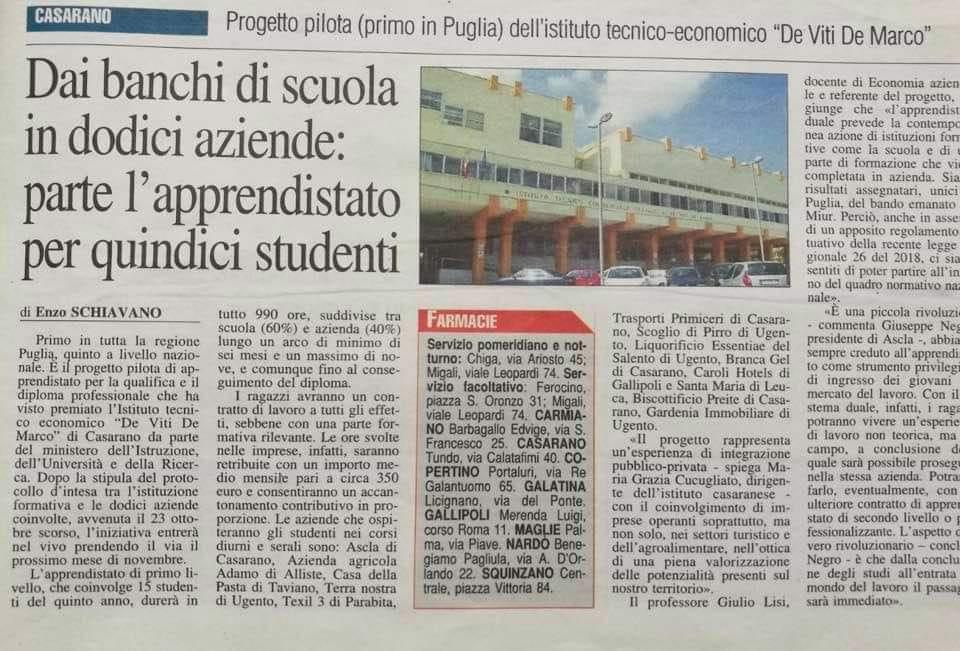 Apprendistato: Progetto pilota (primo in Puglia) del nostro Istituto