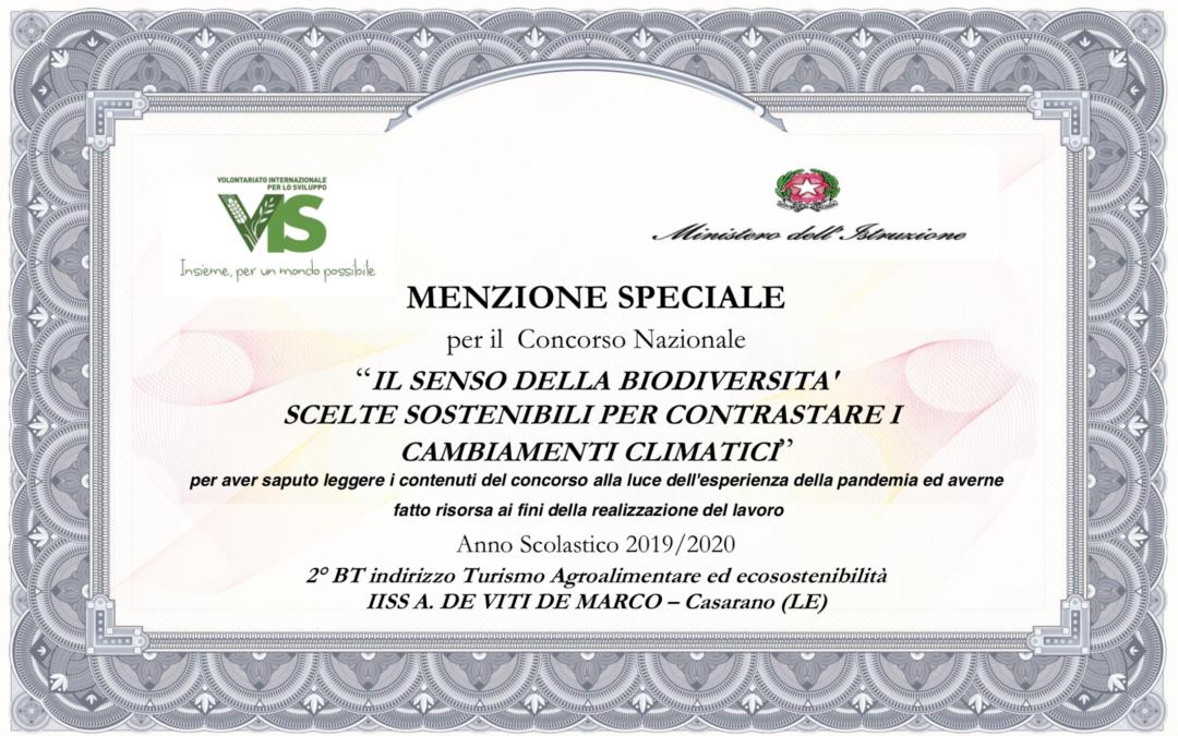 """Menzione speciale per il concorso nazionale """"Il senso della biodiversità"""""""